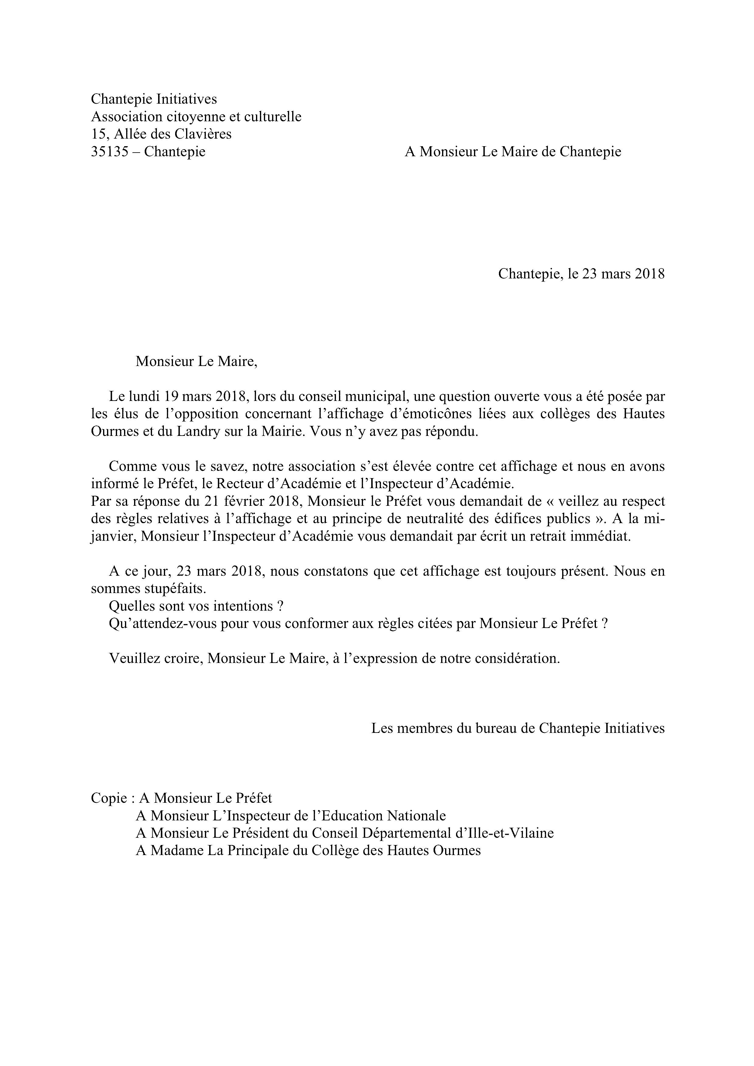 Courrier de réponse à Mr Le Maire - 23.03.2018