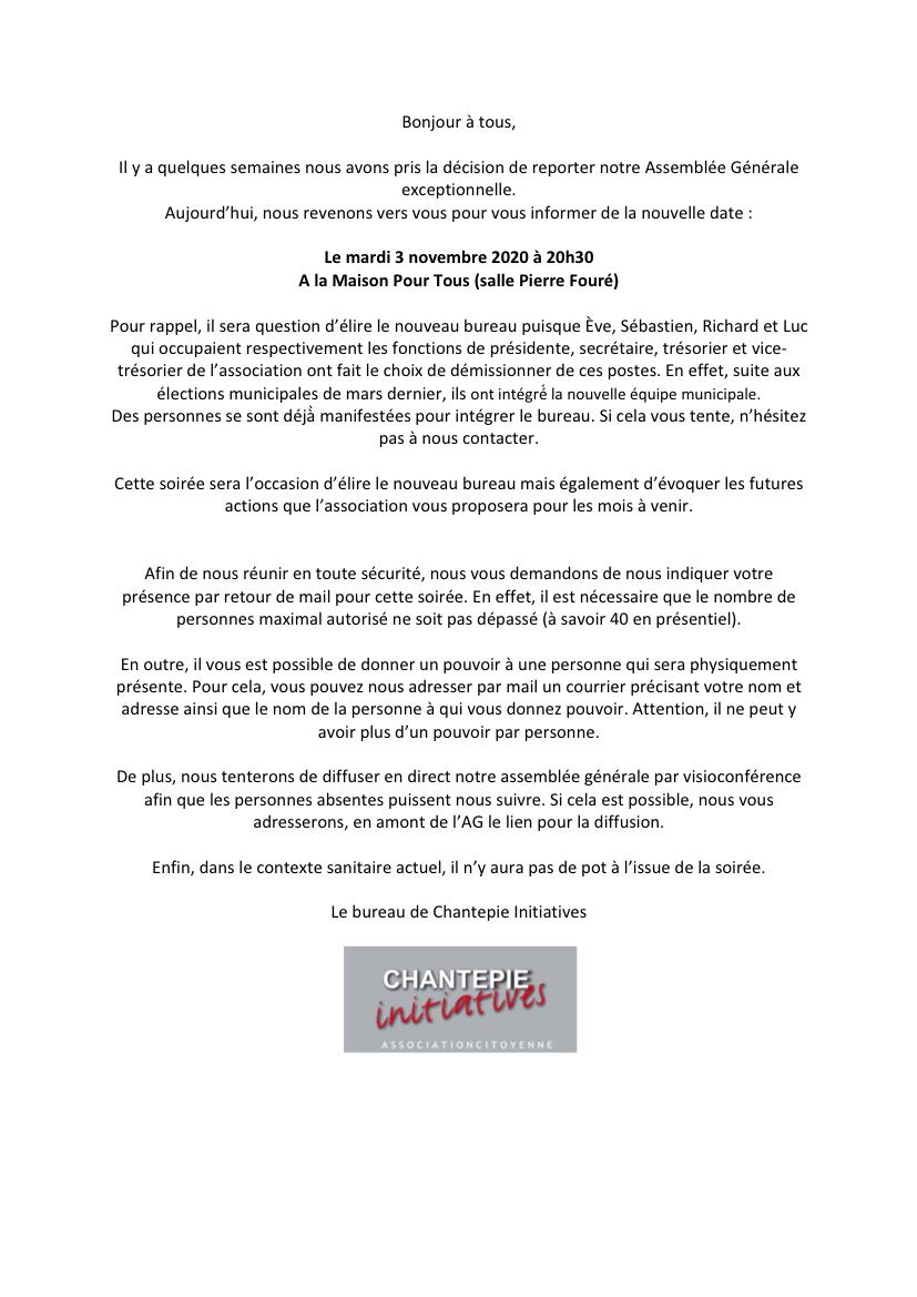 AG exceptionnelle Novembre 2020
